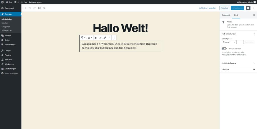 Die WordPress-Benutzeroberfläche.